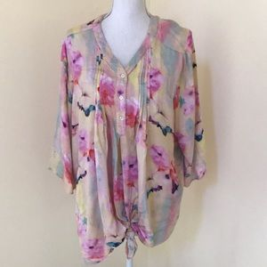 Mellissa Mcarthy size 2X Printed Multi Blouse